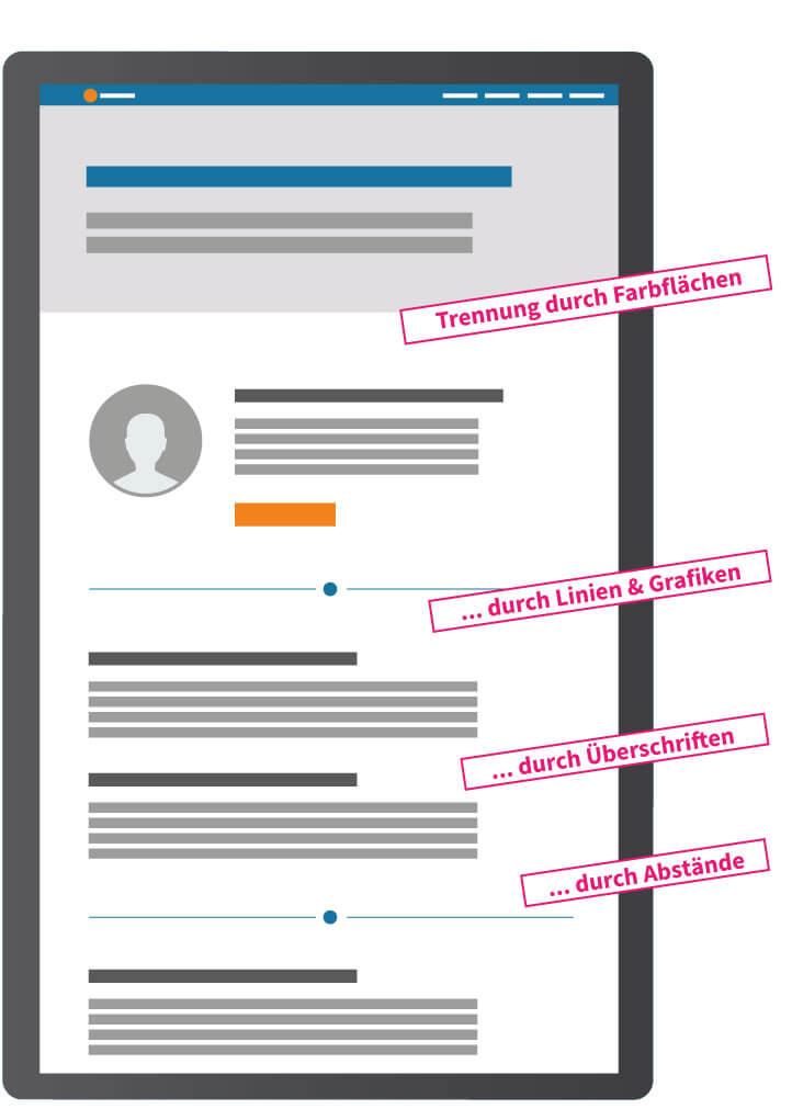 Optische Trennung der Bereiche für eine übersichtliche Homepage