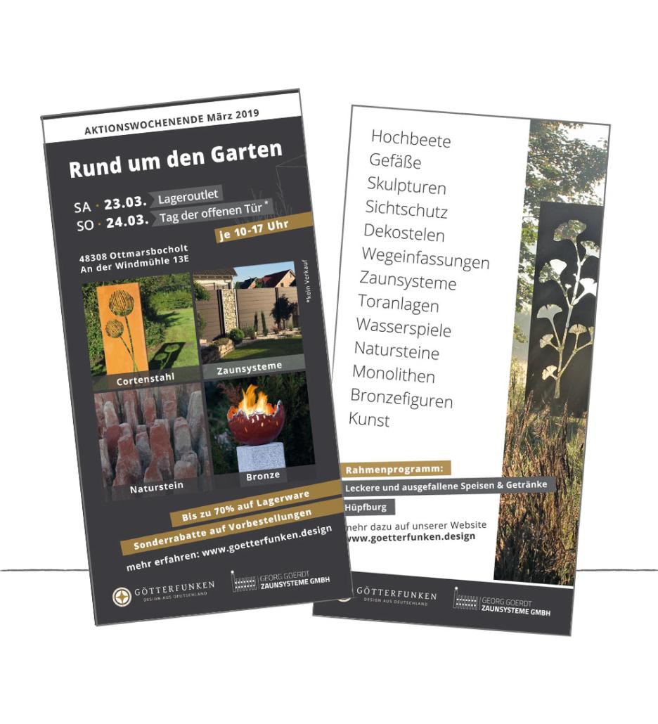 Flyer Desgin für die Götterfunken GmbH