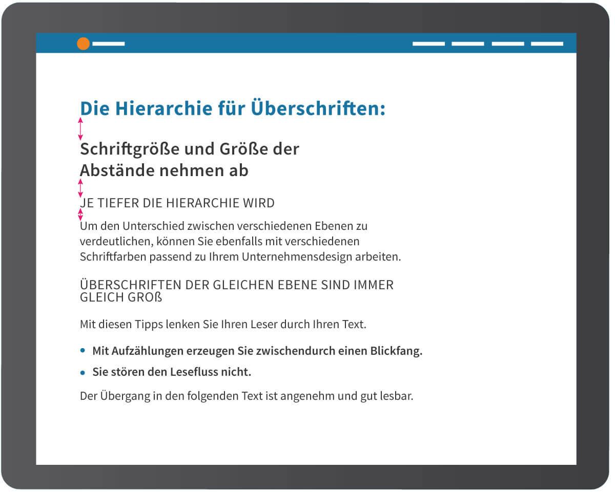Hierarchie von Überschriften für eine übersichtliche Homepage