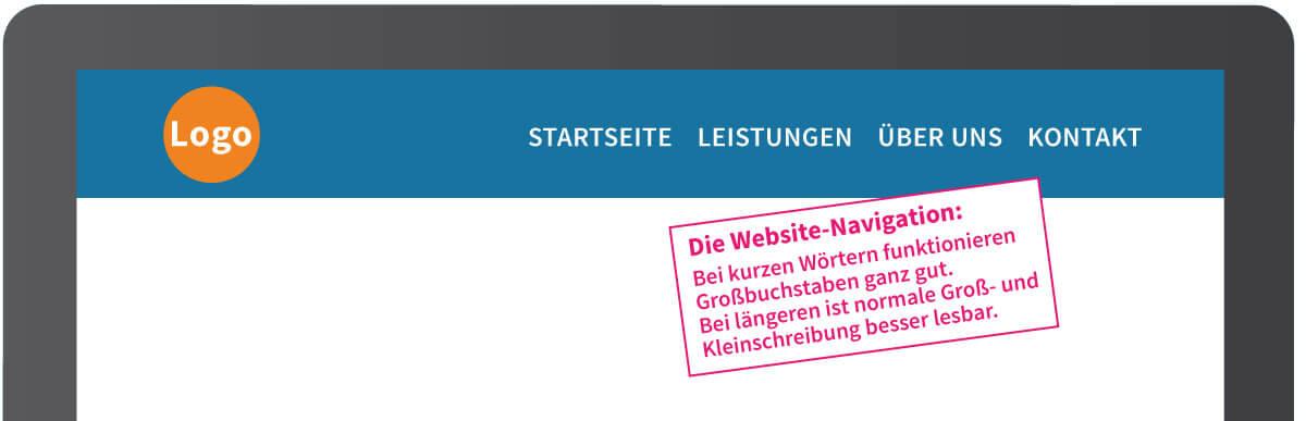 Navigation für eine übersichtliche Homepage