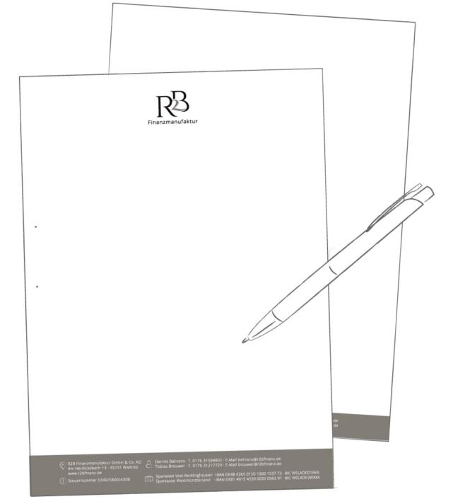 Briefpapier R2B Finanzmanufaktur