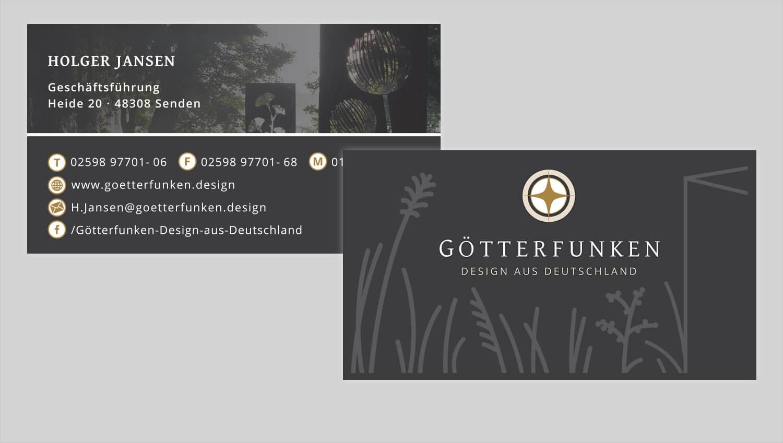 Visitenkarte Design Götterfunken