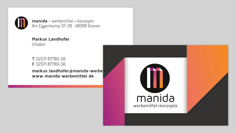 Visitenkarte Design manida werbemittel und konzepte