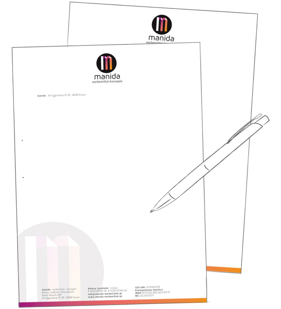 Briefpapier für manida werbemittel und konzepte
