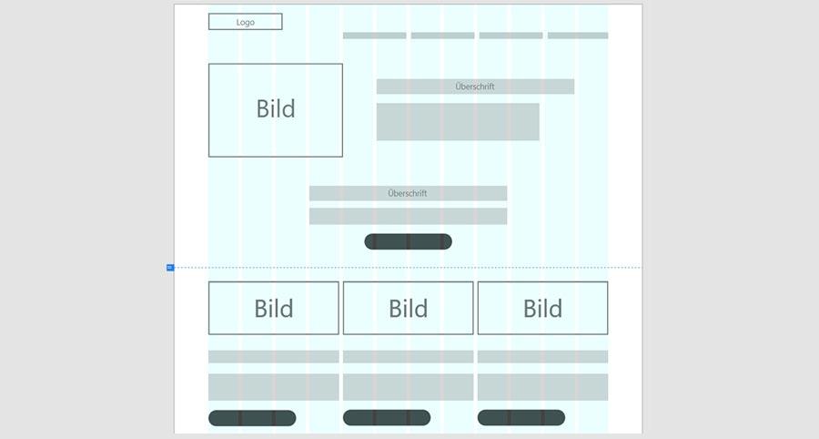 Wireframe Konzept-Skizze für die Anordnung der Inhalte auf der Webseite