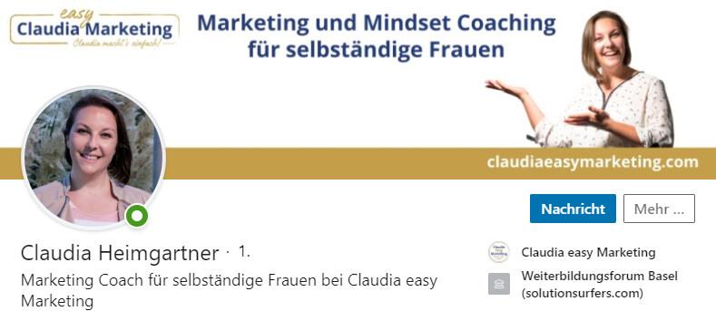 LinkedIn Hintergrundbild von Claudia Heimgartner
