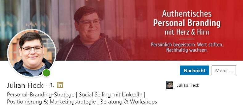 LinkedIn Hintergrundbild von Julian Heck
