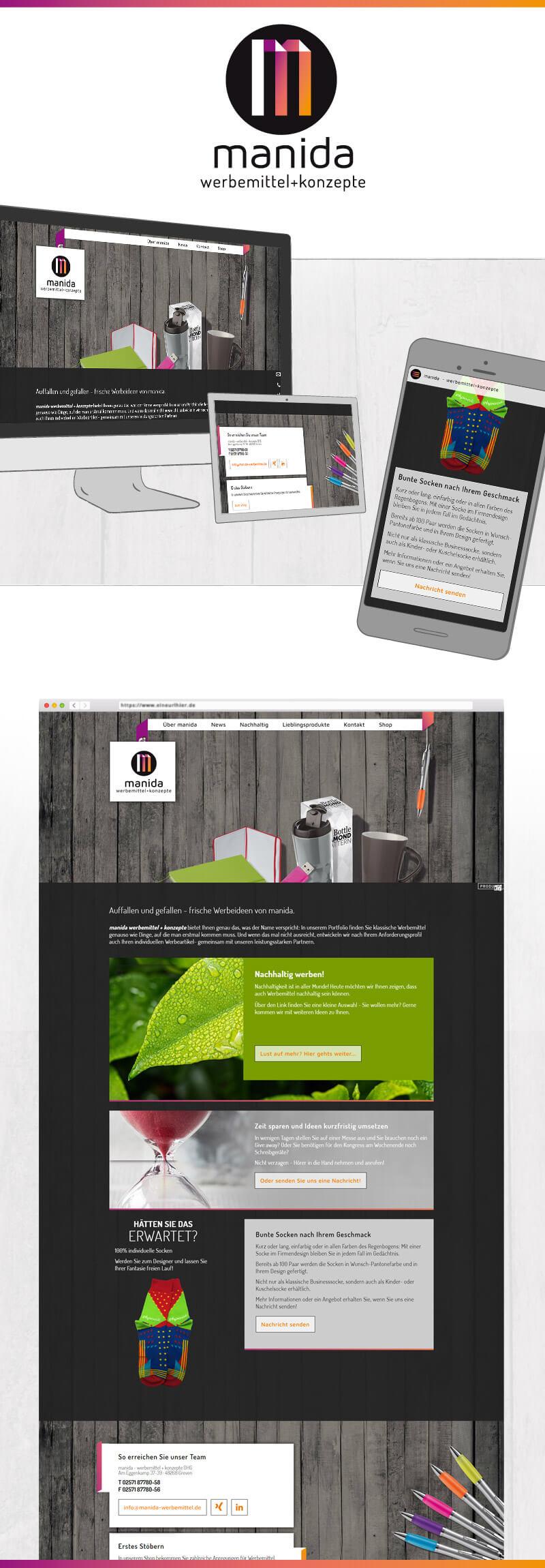 Webdesign für manida - werbemittel und konzepte