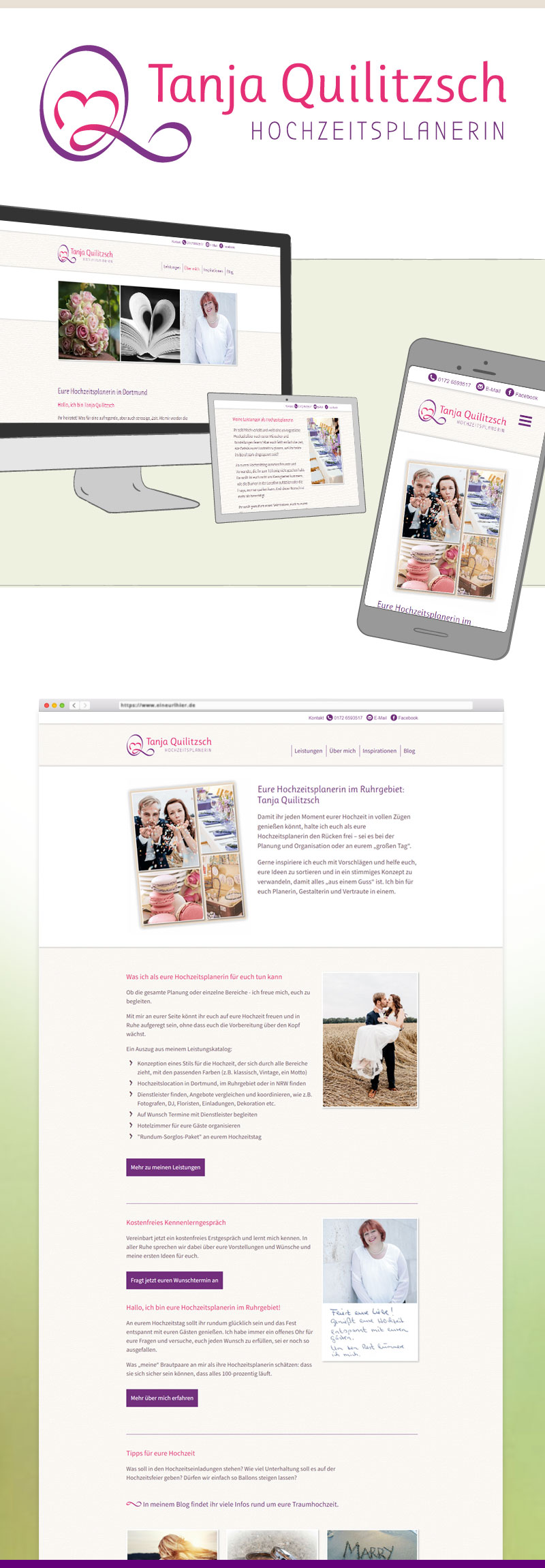 Webdesign für Tanja Quilitzsch Hochzeitsplanerin