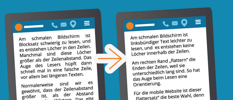 Blocksatz vs. linksbündiger Text am Smartphone