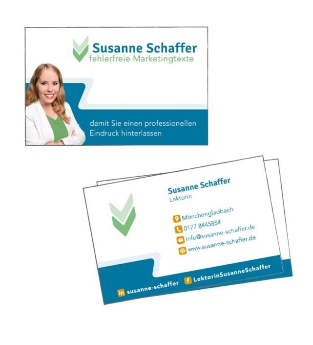 Susanne Schaffer Visitenkarten Gestaltung von Nicole van Meegen