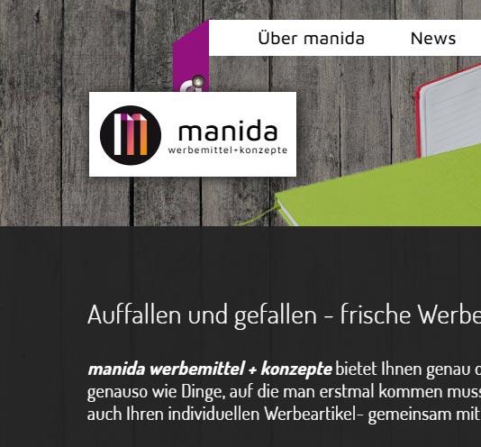 Die Schrift aus dem Logo von manida wird auch für die Texte auf der Website wiederverwendet