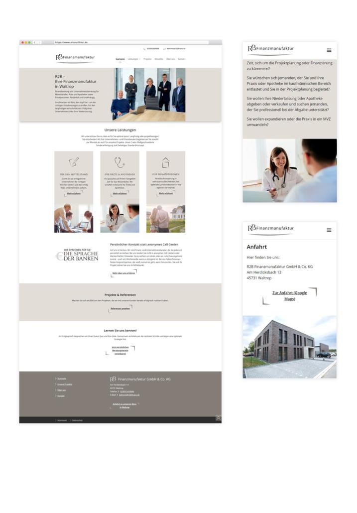Startseite und Unterseiten - Webdesign R2B Finanzmanufaktur
