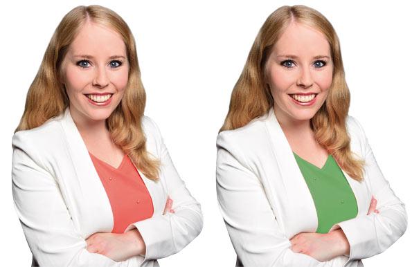 Susanne Schaffer Foto mit rötlichem und grünem Shirt