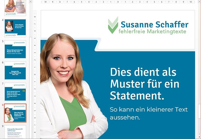 Grafische Social Media Postingvorlagen für Susannes neues Firmendesign