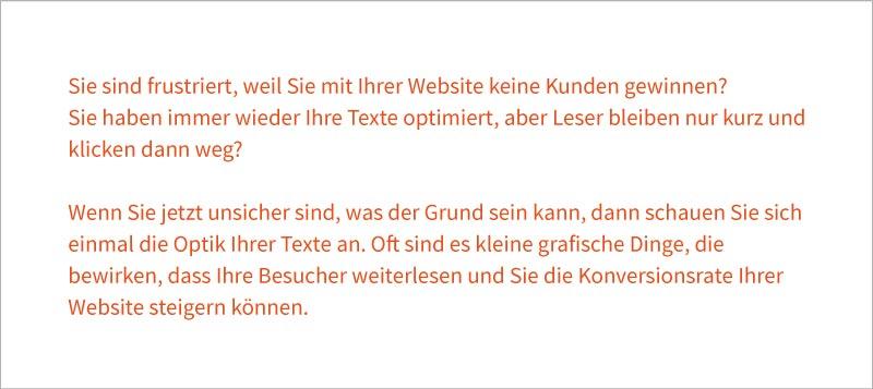 Kräftige Farben sind bei längeren Textabschnitten auf Ihrer Website anstrengend zu lesen