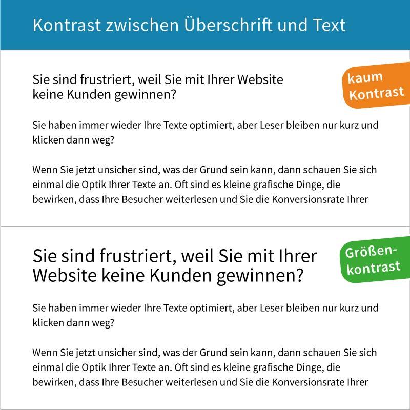 Kontrast bei der Schriftgröße sorgt dafür, dass Kunden Ihre Website lesen