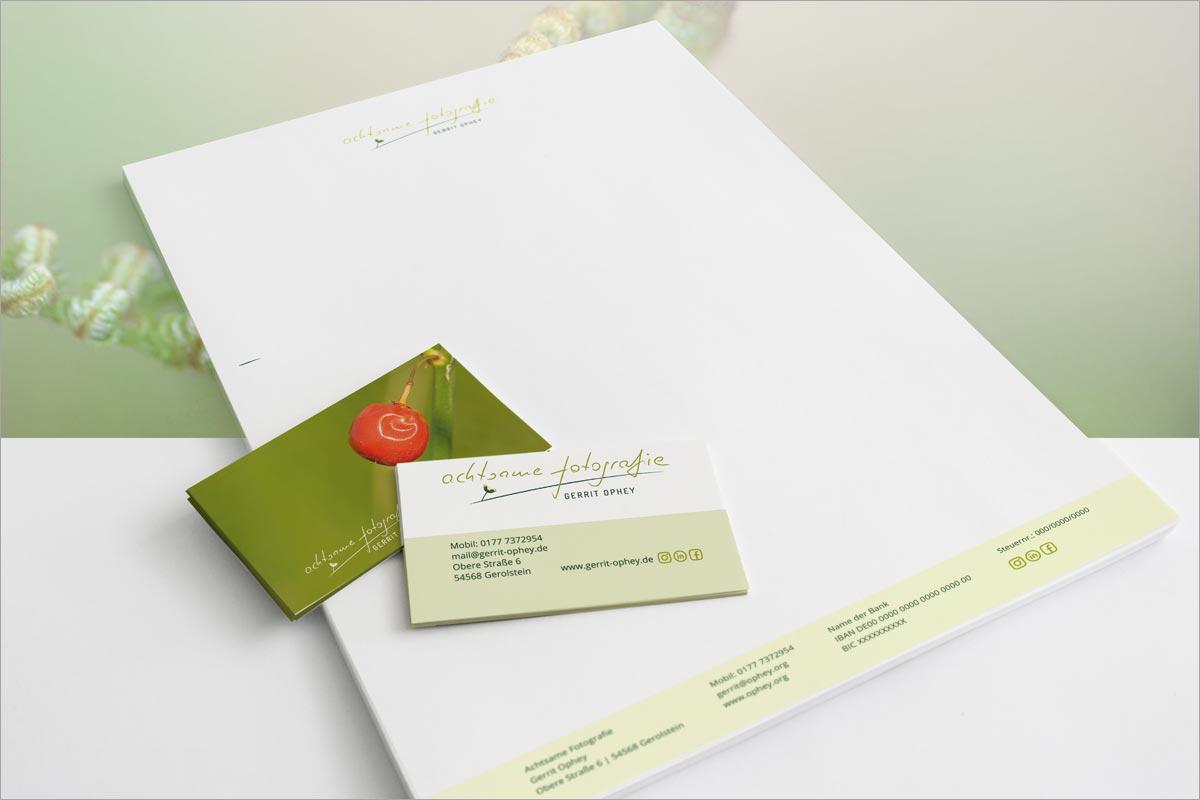 Geschäftspapier und Visitenkarten Gerrit Ophey