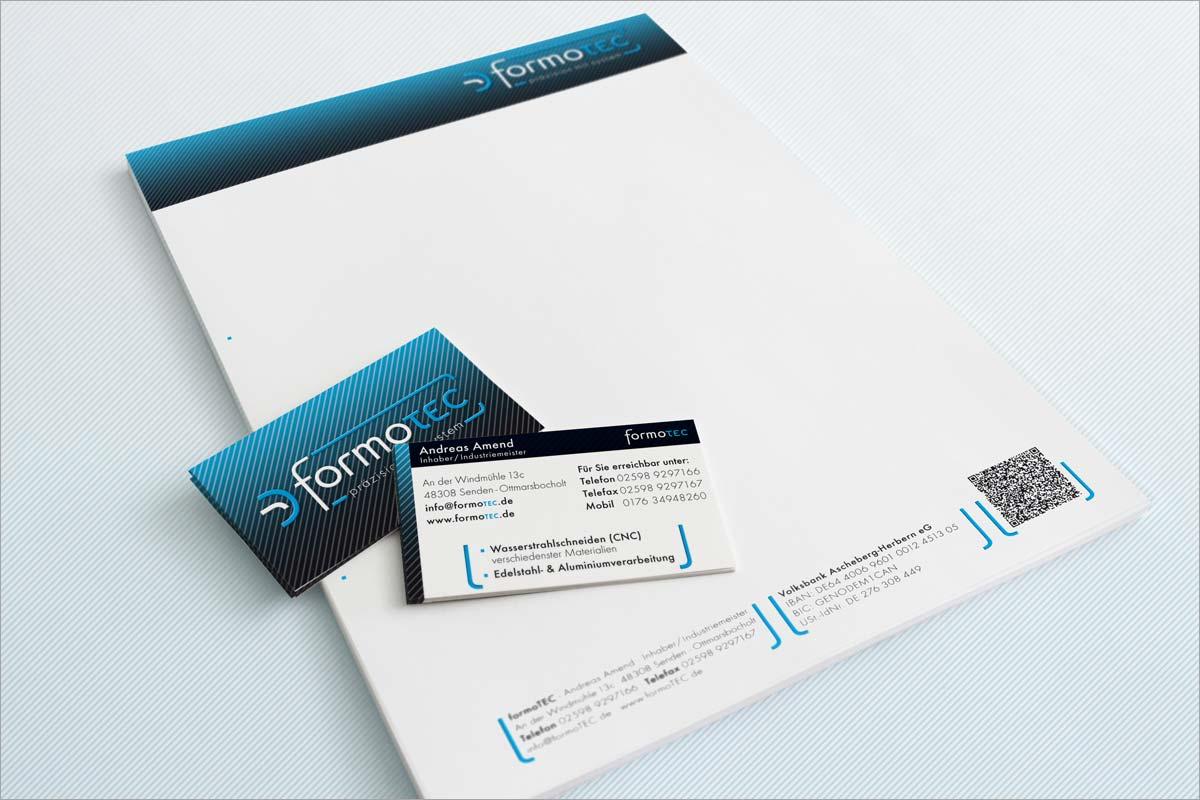 Geschäftspapier und Visitenkarten formotec