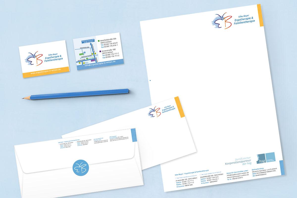 Visitenkarten, Briefbogen und Briefumschläge Ergotherapie