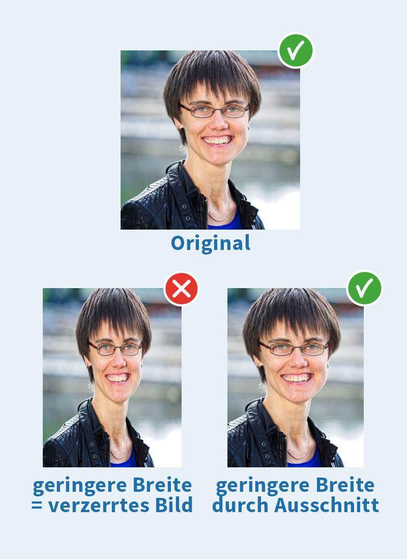 Bildausschnitt wählen, um Verzerrung zu vermeiden