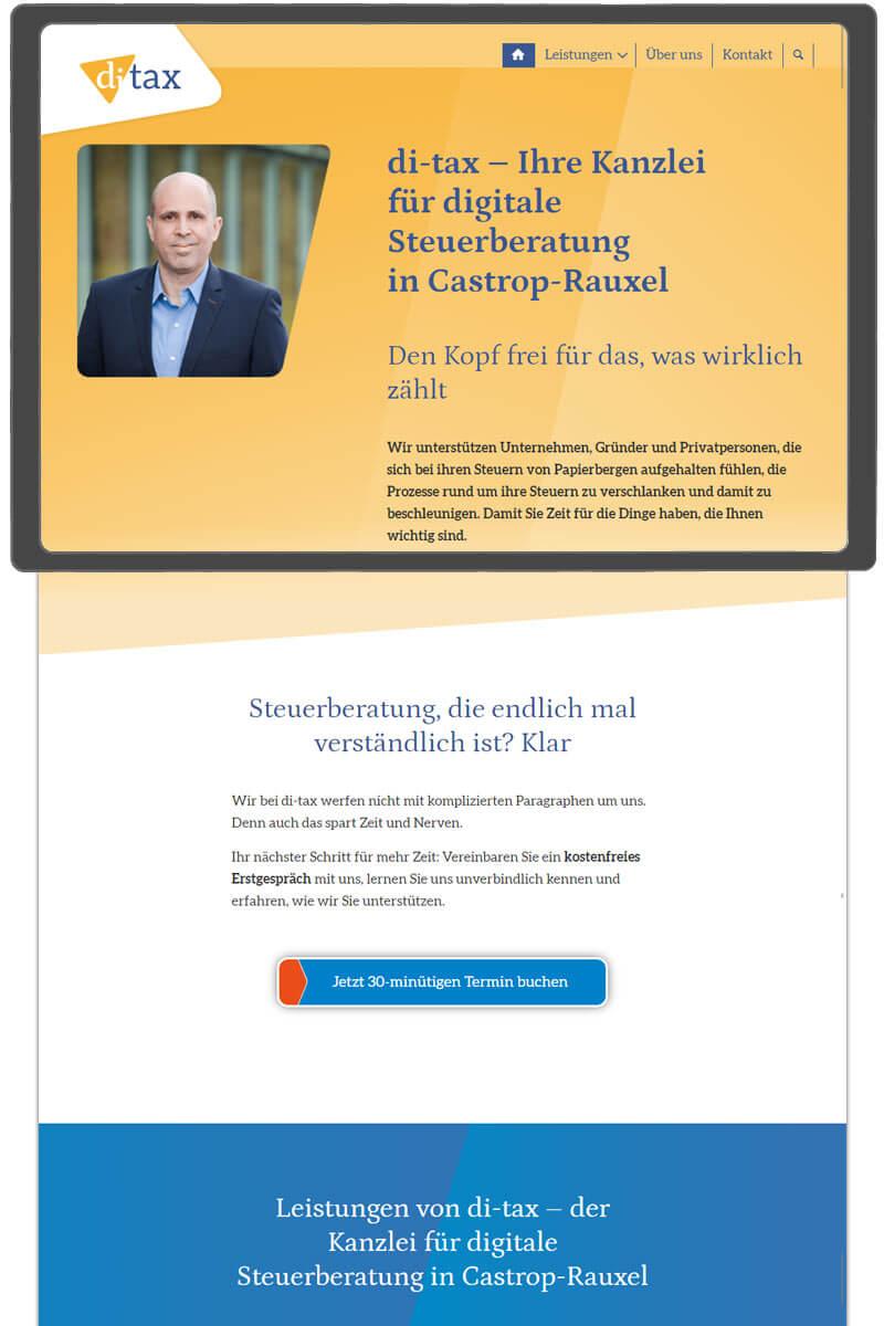 Startseite der Website von di-tax-Steuerberater